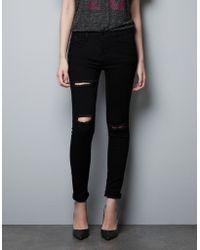 Zara Seamed Skinny Trousers - Lyst