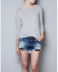 Zara Loose Knit Tshirt with Elbow Patches - Lyst