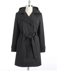 Ellen Tracy Hooded Asymmetric Trench Coat - Lyst