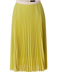 Paul Smith Black Label Mustard Pleated Skirt - Lyst