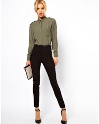 Asos High Waist Belted Trousers In Skinny Fit black - Lyst