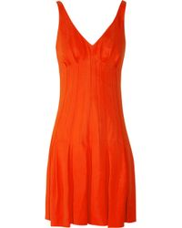 Zac Posen Pleated Crepe Dress red - Lyst