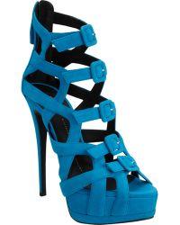 Giuseppe Zanotti Strappy Buckle Front Platform Sandal blue - Lyst