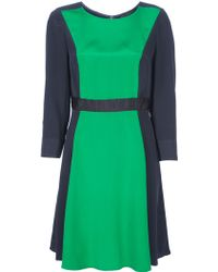 Marc By Marc Jacobs Colour Block Silk Dress green - Lyst
