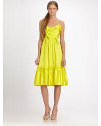 Milly Silk Ruffle Dress - Lyst