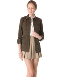 Alice + Olivia Farlie Military Shirt Jacket khaki - Lyst