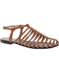 Asos Asos Leather Gladiator Flat Sandals - Lyst