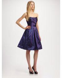 Theia Taffeta Strapless Dress - Lyst