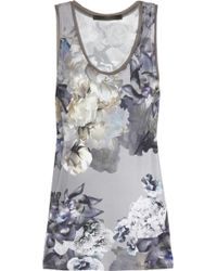 Aminaka Wilmont - Floral-print Satin-jersey and Silk-chiffon Top - Lyst