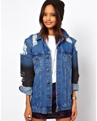 ASOS Collection Denim Oversized Boyfriend Jacket with Rips and Coated Sleeve Detail - Lyst