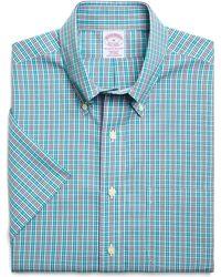 Brooks Brothers Non Iron Regular Fit Short Sleeve Tonal Check Sport Shirt - Lyst