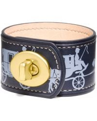 COACH - Horse and Carriage Leather Turnlock Bracelet - Lyst