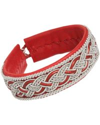 Maria Rudman - Large Leather Pewter Embroidered Bracelet - Lyst