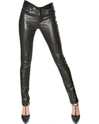 Saint Laurent Bonded Nappa Leather Trousers - Lyst
