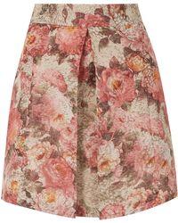 Topshop Floral Pleat Front Aline Skirt - Lyst
