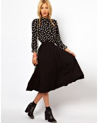 Asos Full Skater Skirt in Longer Length - Lyst