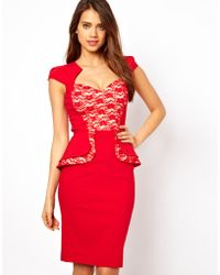 Hybrid Peplum Dress with Lace Insert and Sweetheart Neckline - Lyst