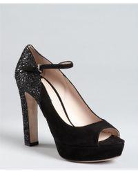Miu Miu Black Suede And Glitter Ankle Strap Platforms - Lyst