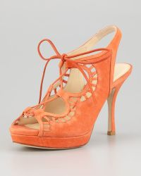 Vera Wang Lavender - Quon Ghilly Laceup Suede Sandal - Lyst