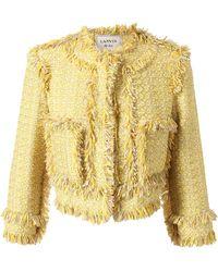 Lanvin Fringed Cottonblend Tweed Jacket yellow - Lyst