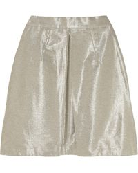 Markus Lupfer Metallic Cotton-Blend Mini Skirt - Lyst