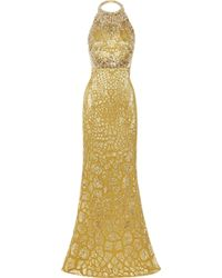 Alexander McQueen Crystal Embellished Silk-blend Gown gold - Lyst