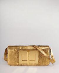 Tom Ford Natalia Eastwest Python Shoulder Bag Gold gold - Lyst