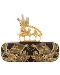 Alexander McQueen Embroidered Dragonfly Knuckle Box Clutch - Lyst
