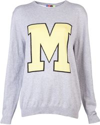 MSGM M Initial Sweater gray - Lyst