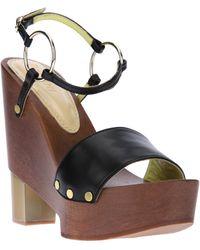 Pollini Chunky Heel Sandal - Lyst