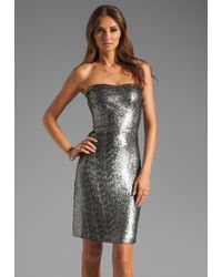 Rebecca Taylor Sequin Strapless Dress silver - Lyst