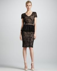 Zac Posen Short Sleeve Lace Peplum Cocktail Dress black - Lyst