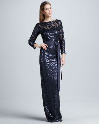 Tadashi Shoji Belted Sequinlace Gown - Lyst