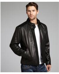 Calvin Klein Leather Motorcycle Jacket - Lyst