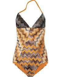 Missoni Zigzag Crochetknit Backless Swimsuit - Lyst