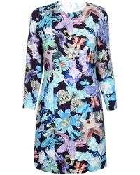 Cacharel Blue Floral Long Sleeve Dress - Lyst