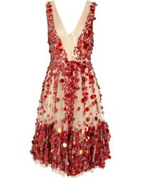 Valentino Heavy Lace Dress In Red/Scarlet/Ruby - Lyst