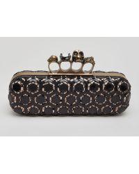 Alexander McQueen Long Honeycombpattern Knuckle Box Clutch - Lyst