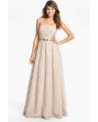 Adrianna Papell Strapless Soutache Gown - Lyst