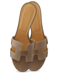 Hermès Oasis Leather Sandals - Lyst