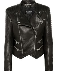 Balmain Quilted Leather Biker Jacket black - Lyst