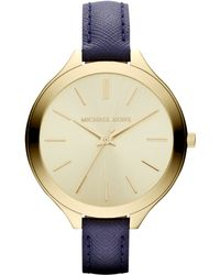 MICHAEL Michael Kors Midsize Navy Leather Runway Watch - Lyst