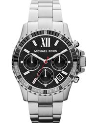 MICHAEL Michael Kors Midsize Silver Color Stainless Steel Everest Chronograph Watch - Lyst