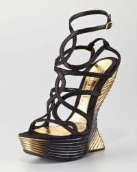 Alexander McQueen Wave Strappy Wedge Sandal - Lyst
