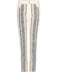 Chloé Striped Canvas Trousers - Lyst