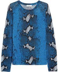Equipment Sloane Snakeprint Cashmere Sweater blue - Lyst