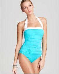 Lauren by Ralph Lauren Swimsuit Bel Air Solids Shirred Halter - Lyst