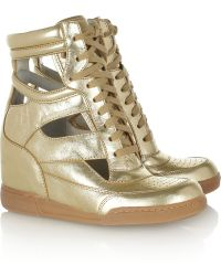 Marc By Marc Jacobs Cutout Metallic Leather Wedge Sneakers - Lyst