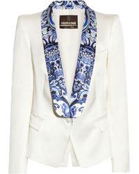 Roberto Cavalli Contrast lapel Satintwill Blazer white - Lyst