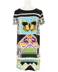 Mary Katrantzou Silk Dress with A Stamp and Banknotes Kaleidoscopic Print - Lyst